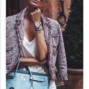 💯 Authentic Zara tweed fantasy blazer jacket xs